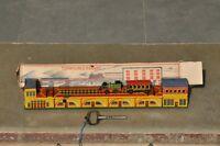 Vintage Boxed Wind Up MT Trademark Turntable Railway Litho Tin Toy , Japan