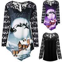 Women Plus Long Sleeve Blouse Christmas Lace V-Neck Asymmetrical T-shirt Tops