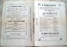 1869 FIRENZE TEATRO NICCOLINI COMMEDIA 'LA RIVINCITA' LUIGI BELLOTTI BON UDINESE