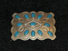 "Beautiful vintage Navajo Turquoise & nickle silver Belt Buckle 2 3/4"" x 3 3/4"""