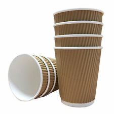 100 x 12oz  Kraft Disposable Ripple Hot Cups Coffee Tea Cup Takeaway
