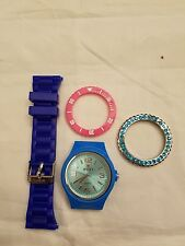 Iken Pink And Two Blue Build Your Own Watch With Aquamarine Crystal Bezel