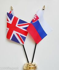 United Kingdom UK & Slovakia Double Friendship Table Flag Set