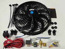 "12"" Electric Fan 1750 CFM + Wiring Install Kit Complete Thermostat 50 Amp Relay"