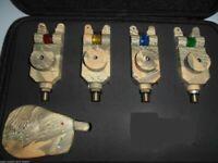 4 x TMC Camo Mag Roller wireless Bite Alarms, Receiver. jacks, LED's, Mufflers