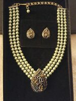 Heidi Daus Teared Tapestry Faux Green Pearl and Paisley Crystal Necklace NIB