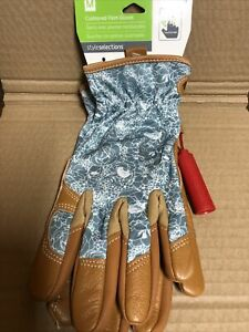 Style Selections Women's Medium Turquoise/ Brown Leather Cushioned Palm Gloves