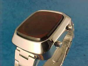 SILVER 70s 1970s Old Vintage Style LED LCD DIGITAL Rare Retro Watch COM CBM