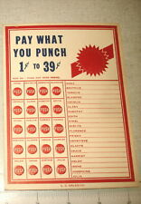 Old Punch Card Trade Stimulator PAY WHAT YOU PUNCH (20 Punches) NOS