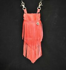 Cell Phone Hip Bag Western Red Leather Double Fringe/Free X- Body Strap