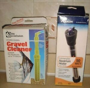 New Fish Tank Aquarium heater 50W  and  used Siphon Gravel Cleaner Jr.