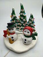 "VINTAGE CERAMIC MOLD CHRISTMAS TREE SNOWMAN POND RARE FROSTY HUSBAND WIFE 8"""