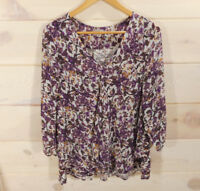 Lucky Brand Women's Plus Sz 1X Boho Top Purple Floral Peasant 3/4 Sleeve Slits