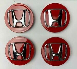 4x HONDA ALLOY WHEEL CENTRE CAPS BADGES 68mm RED SILVER ACCORD CRV CIVIC TYPE R