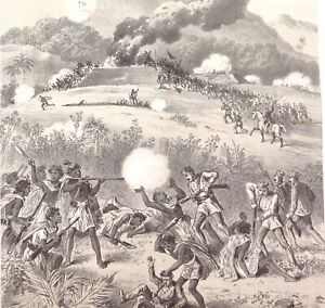.A 100% GENUINE 1879 HISTORY of AUSTRALASIA LITHOGRAPH. TAKING A MAORI REDOUBT.