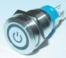 Taster, Lichttaster,19mm, EIN/AUS-Symbol, mit LED weiß, Edelstahl, 250V/5A, S162