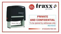 PRIVATE AND CONFIDENTIAL  Traxx 9012 (45x15mm) Self Inking Rubber Stamp RED Ink