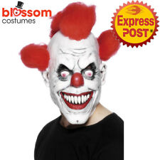 AC157 Scary Clown 3/4 Mask With Hair Evil Circus Halloween Costume Accessory