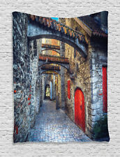 Medieval Tapestry Old Stone House Town Print Wall Hanging Decor
