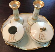 ANTIQUE LIMOGES FRANCE PORCELAIN VANITY/DRESSER TRAY SET CANDLESTICKS JAR BY GDA