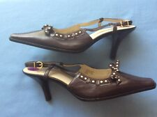 BN Circa JOAN&DAVID brown/Cream Leather Sling Back Shoes.Size UK 6.6/ 7(US8.5 )