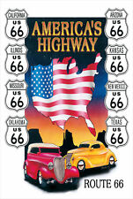 "ROUTE 66 MAP In Metallo Tin Sign retrò vintage, 12"" x 16"" (300x400mm) f.u.m. Tools Odor"