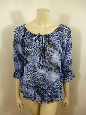 Sunny Leigh Multi-Color 3/4 Sleeve See Thru Woman Top Blouse Size M