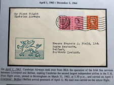 1963 Birmingham England First Flight Cover To Belfast Cambrian Airways