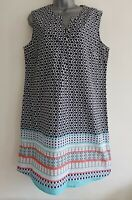 DAVID JONES Women's Navy Mix Geometric Pattern Sleeveless Tunic Dress.Size UK 14