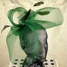 green crin fascinator headband headpiece wedding party piece race ascot bridal