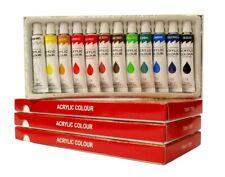 3 Boxes of 12 Color Acrylic Paint Set 12 ml Tubes Artist Paint Rainbow Pigment