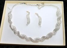 Twisted Design Diamante Necklace & Earrings Set * New & Boxed * Bridal