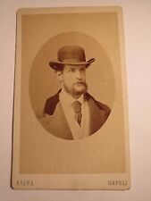 Napoli - Neapel - 1871 - Baron Joseph Doblhoff als Mann mit Bart & Hut / CDV