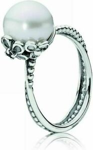 Authentic Pandora silver ring 190848P-54 with white cultured freshwater pearl