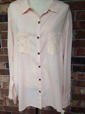 Belle du Jour Button Down Lace Rayon Women's Blouse, Peach / Blush, XL