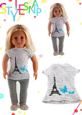 Eiffel Tower T shirt clothes for 18inch American girl doll N88