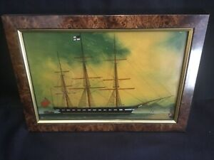 Vintage China Trade Reverse Painting on Glass Sailing Ship by Authentic Models