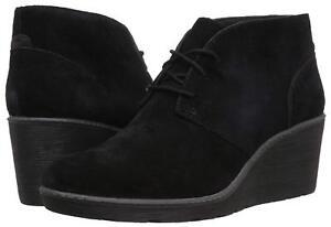 Women's Shoes Clarks HAZEN CHARM Ankle Wedge Chukka Booties 37257 BLACK *New*