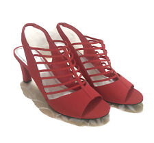 IMPO Women's Heels Size 10 Red Vinay Slingback Open Toe Stretch Business New