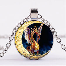 Photo Cabochon Silver Fashion Glass Necklace pendant(Dragon on the moon