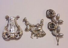 Vintage Signed Lang Sterling Silver 925 Figural Pin Brooch Lot Three Pieces