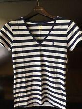 Polo Ralph Lauren 100% cotton stripes T-shirt NWT $34.50 sz L navy white