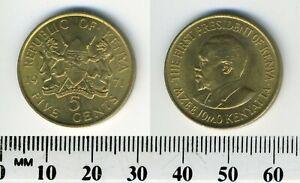 Kenya 1971 - 5 Cents Nickel-Brass Coin - President Mzee Jomo Kenyatta