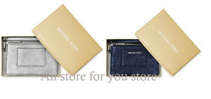 Michael Kors Wallet Small Pocket Divided Wristlet Metallic Leather With Box