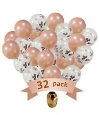 "32pc 12"" Rose Gold Latex Confetti Balloons Wedding Birthday Party Decor Supplies"