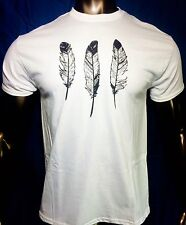 NEW Mens White T Shirt Native American Pride Indian Rights Feathers Bird Nature