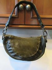 BERGE Olive Green leather Cow Pony hair Small HOBO purse Italy REDUCED