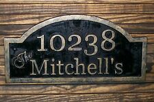 Address Plaque Carved Wood Antique Brass Finished Large Wood Sign