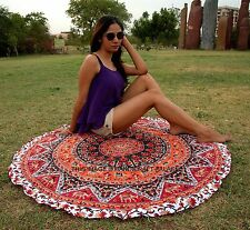 Indian Cotton Tapestry Round Wall Hanging Elephant Star Mandala Yoga Mat Throw