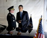 PRESIDENT BARACK OBAMA WITH GENERAL MARTIN DEMPSEY - 8X10 PHOTO (CC-082)